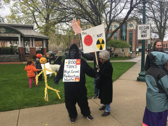 """Some anti-nuclear activists wore costumes to the April 30, 2019 """"funeral"""" for nuclear power in downtown Monroe."""