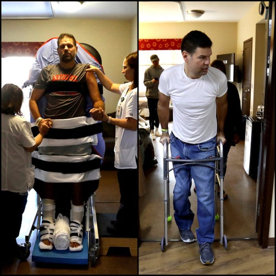 A ditpic showing (L to R) Greg Piscopink getting exercise standing upright from therapists at Maple Manor Rehab Center in Novi, Michigan on Wednesday, November 14, 2018 to Piscopink walking out assisted by a walker to head home to Grand Blanc on Friday, April 26, 2019.Piscopink was severely injured with extensive leg and upper body injuries and broken bones in a car crash on I-75 North in Springfield Township on August 15, 2018. His son, Gregory Piscopink, a quarterback for Brother Rice was driving and fell asleep at the wheel.