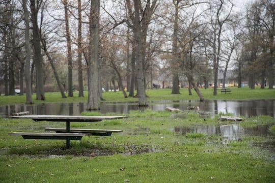 Flooded picnic area on Belle Isle in Detroit, Thursday, May 2, 2019.