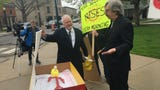 """Two-dozen environmental activists held a """"funeral"""" for nuclear power in Monroe, Mich. on April 30, 2019."""