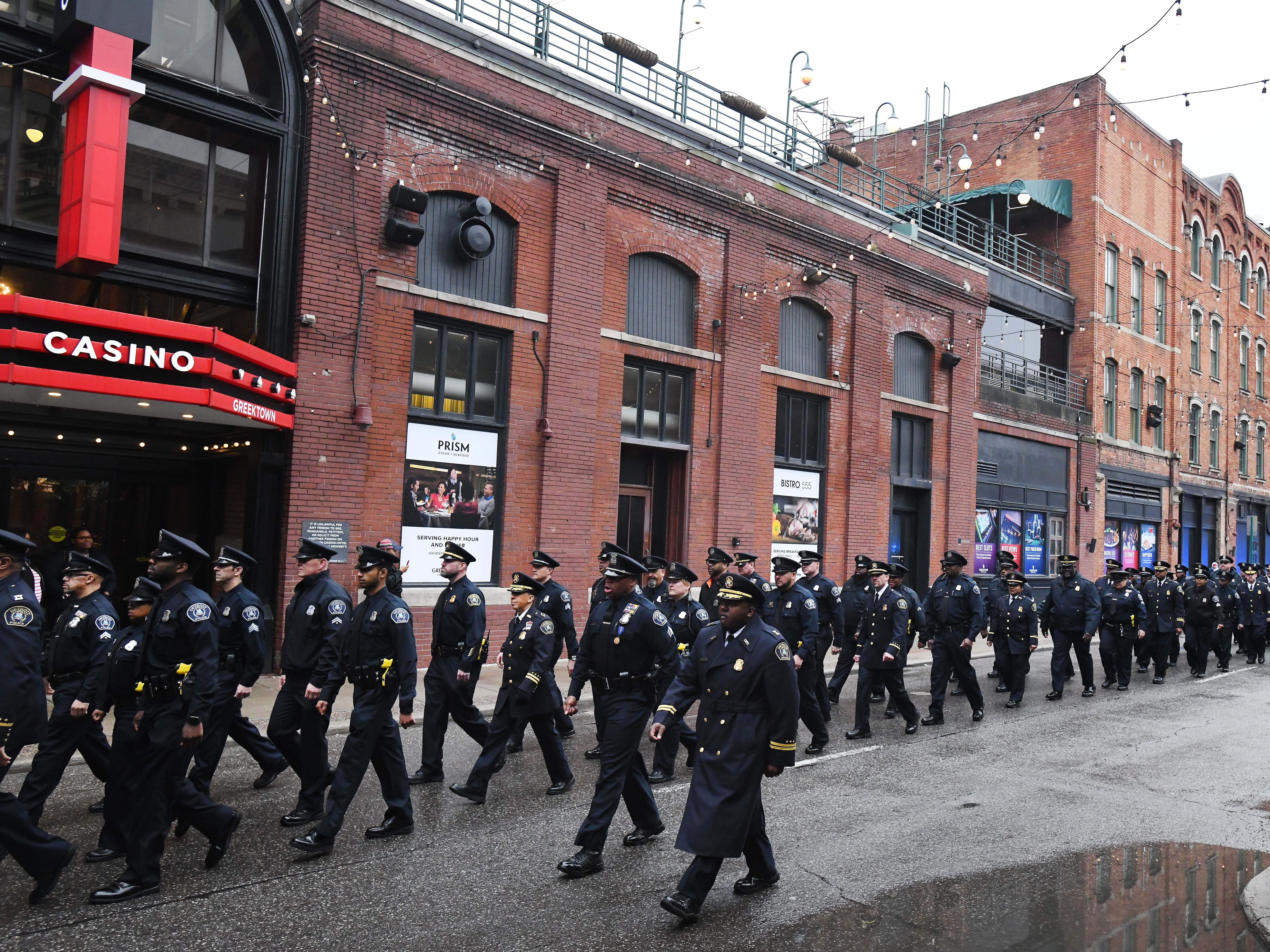 Detroit Police Officers march down Monroe Street honoring the memories of those officers who have sacrificed their lives while protecting and serving the citizens of the City of Detroit.