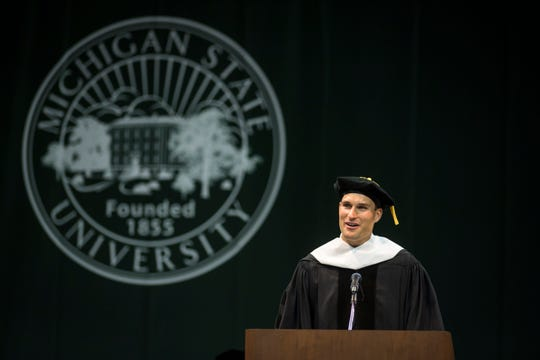 MSU alumnus and Minnesota Vikings Quarterback Kirk Cousins addresses the crowd.