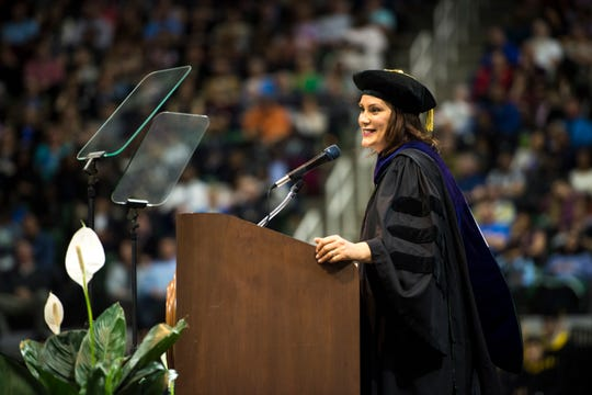 Gov. Gretchen Whitmer gives the keynote address to graduates at MSU.