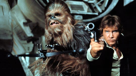 "Chewbacca (Peter Mayhew) and Han Solo (Harrison Ford) in the original ""Star Wars."""