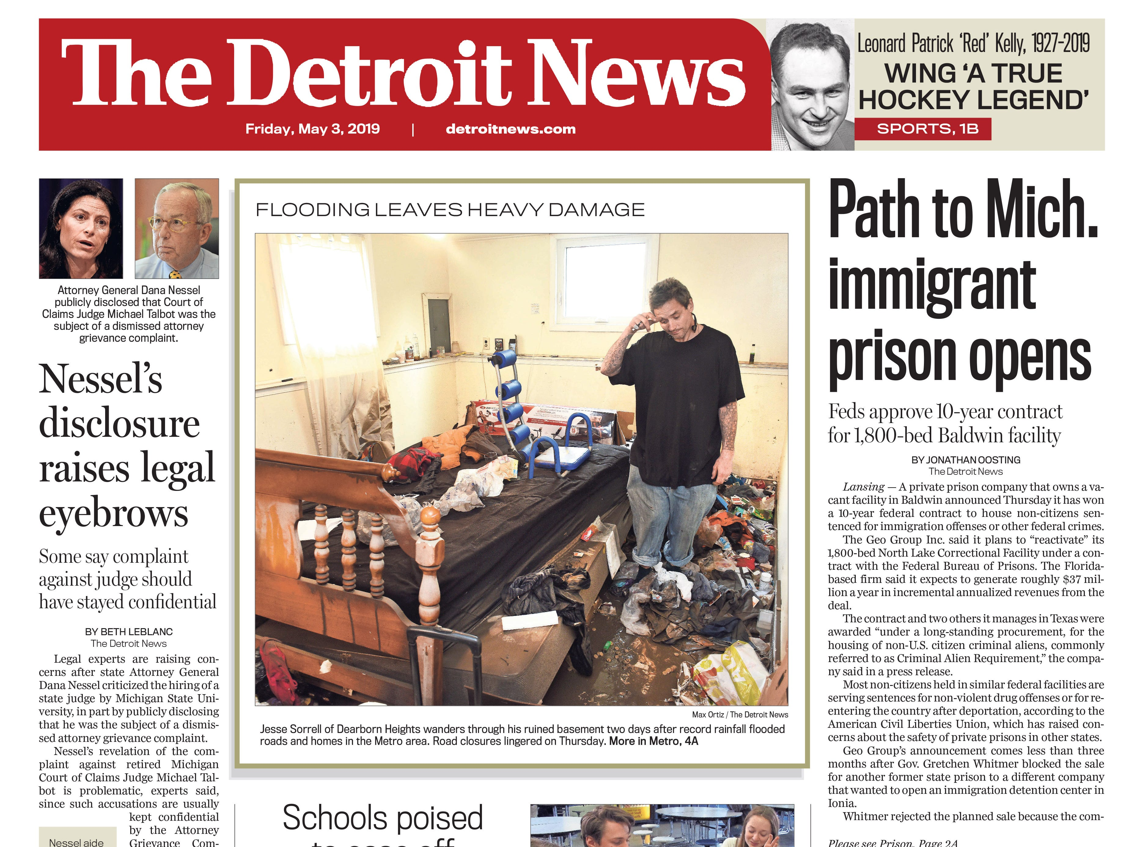 The front page of the Detroit News on Friday, May 3, 2019.