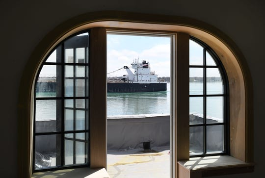 Guest rooms with walkout balconies, so close it seems you could jump on the freighter passing down the St. Clair River as renovations continue on the the 1926-built hotel, the St. Clair Inn, in St. Clair, Michigan.