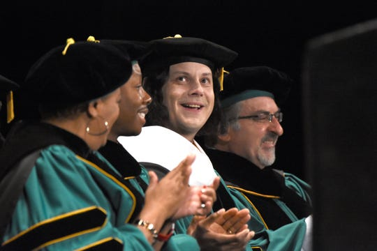 Jack White at Wayne State University commencement exercises at the Fox Theatre on Friday, May 3, 2019.