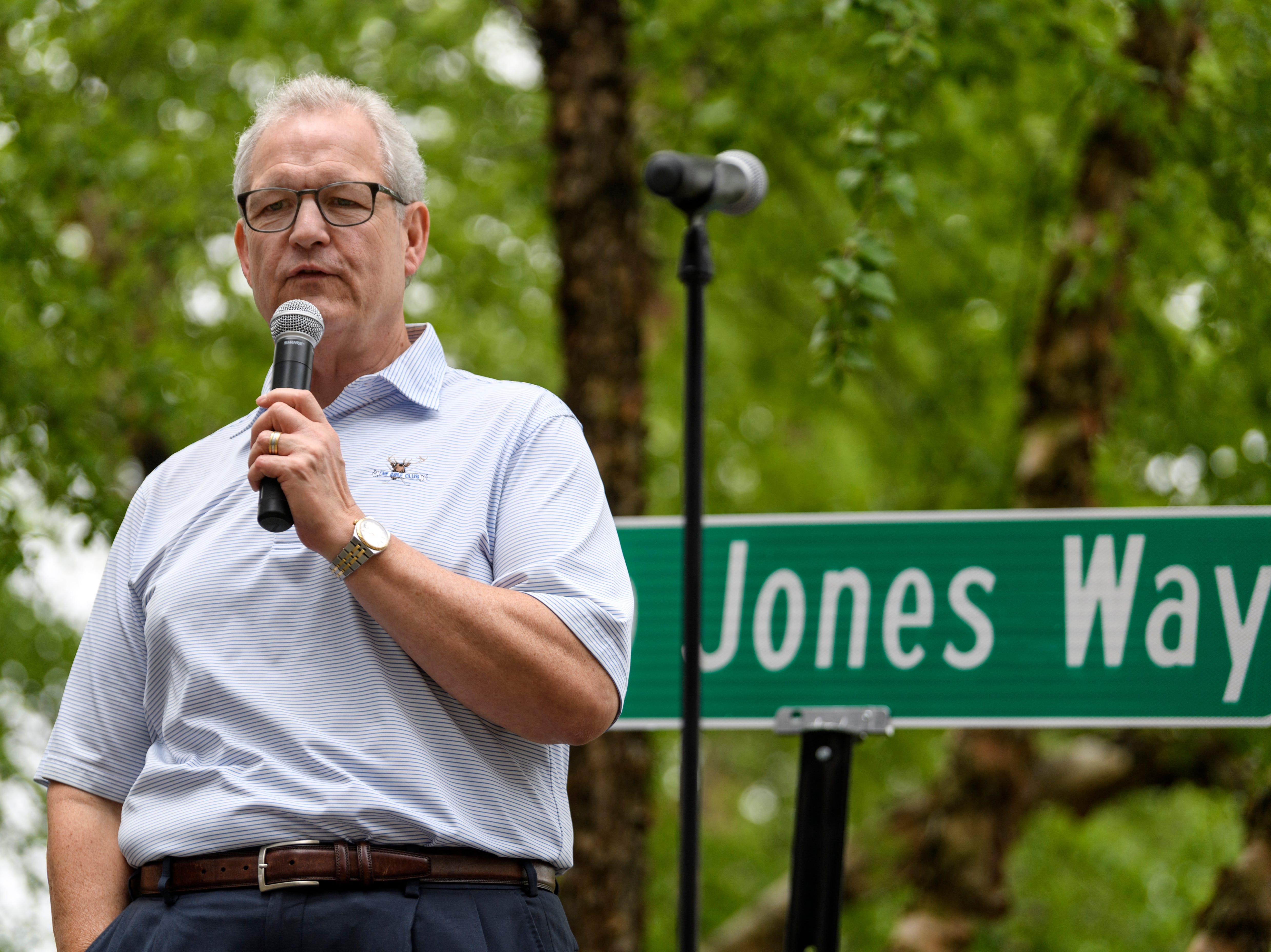Bob Jones, the chief executive officer of Old National Bank, thanks the community during his retirement farewell party held outside of Old National Bank in downtown Evansville, Ind., Friday, May 3, 2019. Jones served as the Old National Bank CEO for 14 and a half years.