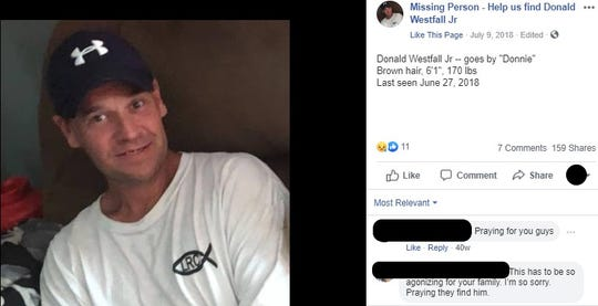 """A screenshot of a Facebook post from a page that publishes news about the missing persons search for Donald """"Donnie"""" Westfall Jr., who was last seen in June 2018. The post includes a description of Westfall."""
