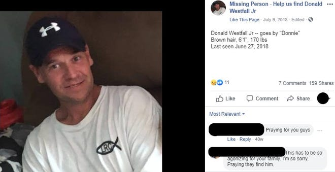 "A screenshot of a Facebook post from a page that publishes news about the missing persons search for Donald ""Donnie"" Westfall Jr., who was last seen in June 2018. The post includes a description of Westfall."