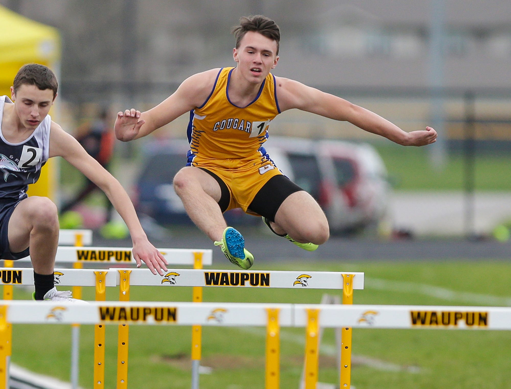 Connor Lemke of Campbellsport High School competes in the 110 meter hurdles Friday, May 3, 2019 at the Waupun High School Invitational track and field meet. Doug Raflik/USA TODAY NETWORK-Wisconsin