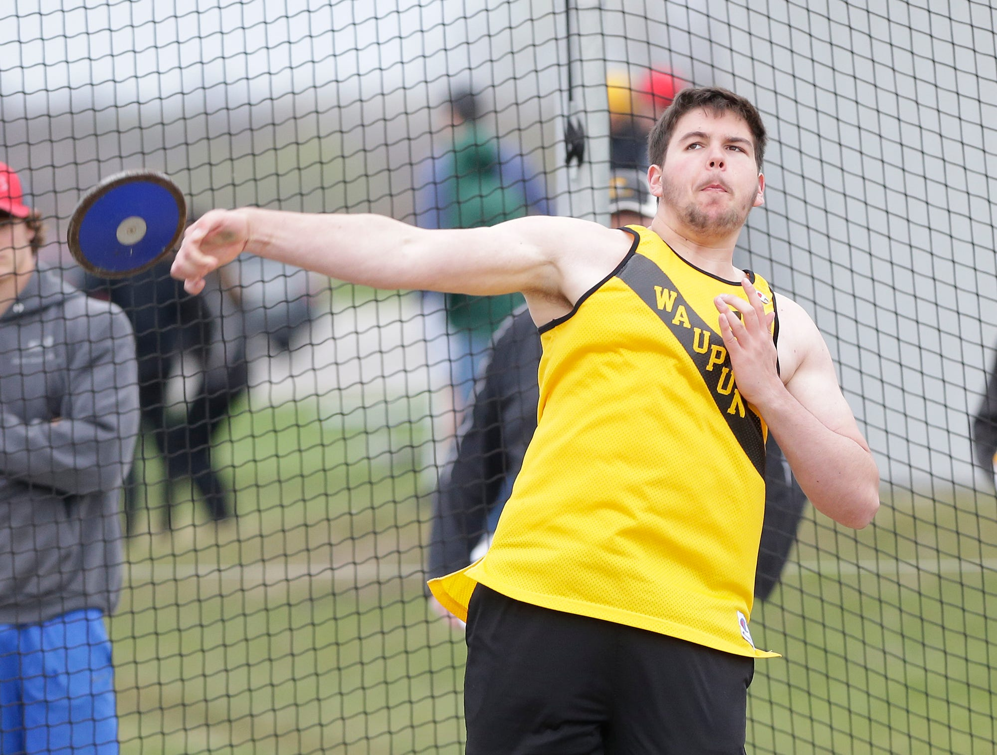 Zach Travernicht of Waupun High School competes in the discus throw Friday, May 3, 2019 at the Waupun High School Invitational track and field meet. Doug Raflik/USA TODAY NETWORK-Wisconsin