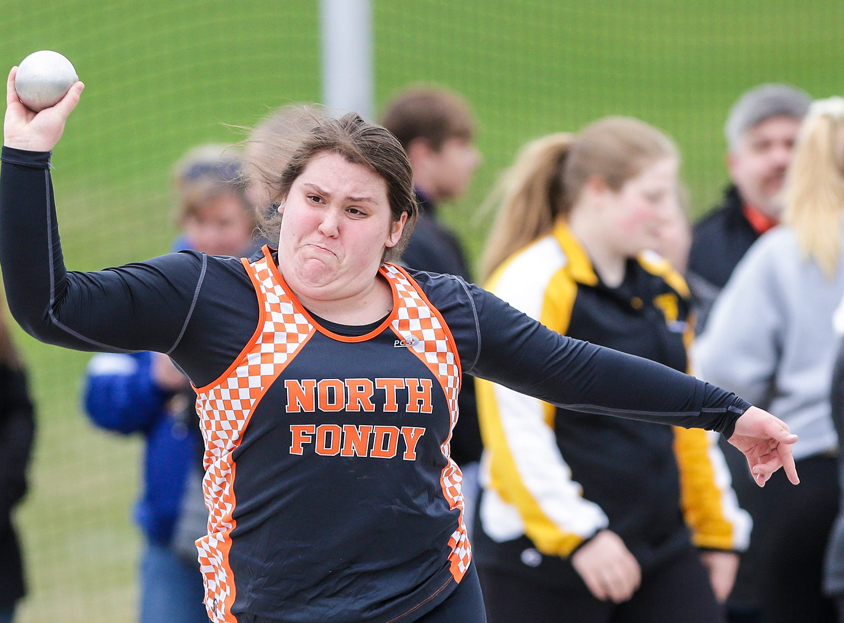 Alexis Thielke of North Fond du Lac High School competes in the shot put Friday, May 3, 2019 at the Waupun High School Invitational track and field meet. Doug Raflik/USA TODAY NETWORK-Wisconsin