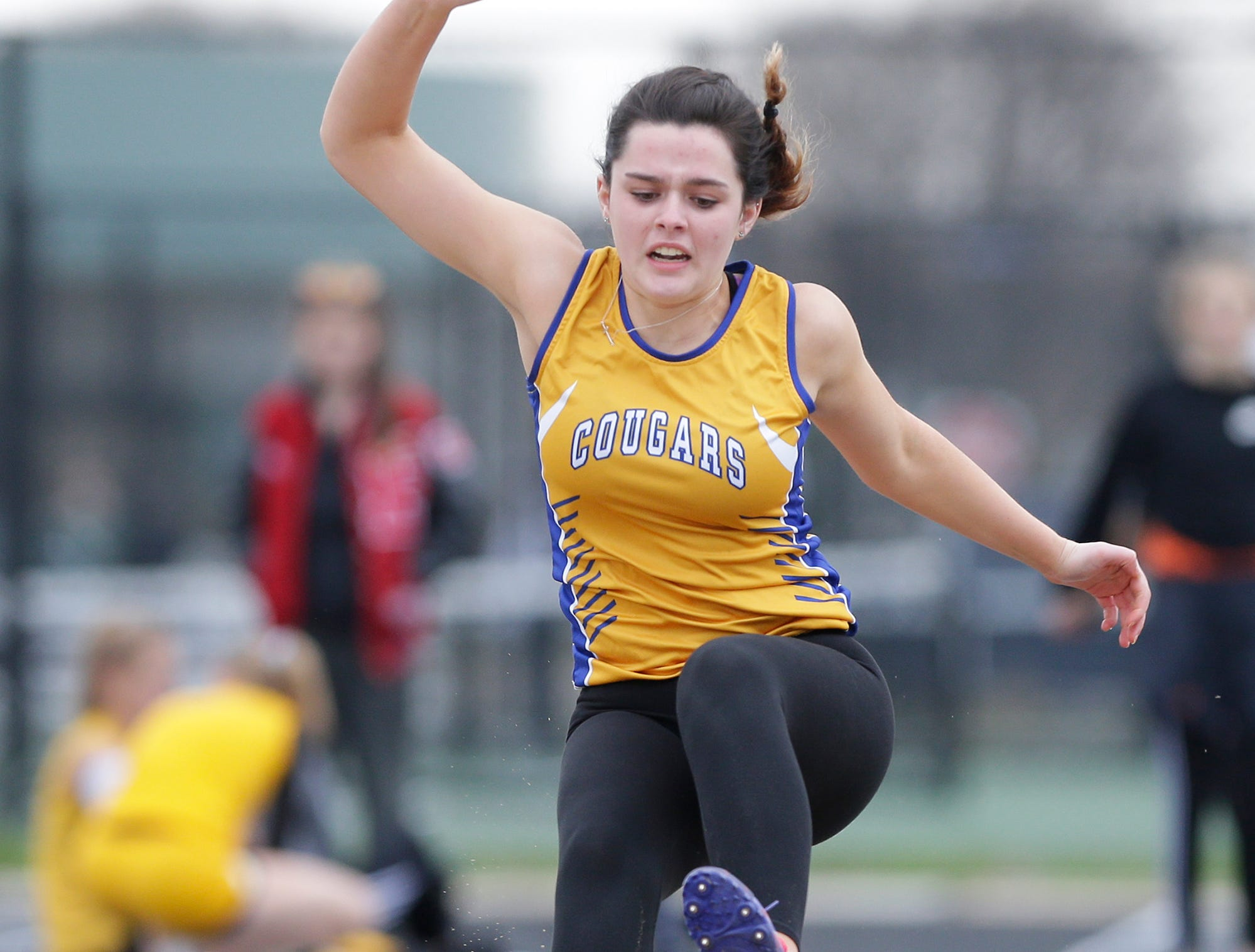Amber Thompson of Campbellsport High School competes in the long jump Friday, May 3, 2019 at the Waupun High School Invitational track and field meet. Doug Raflik/USA TODAY NETWORK-Wisconsin