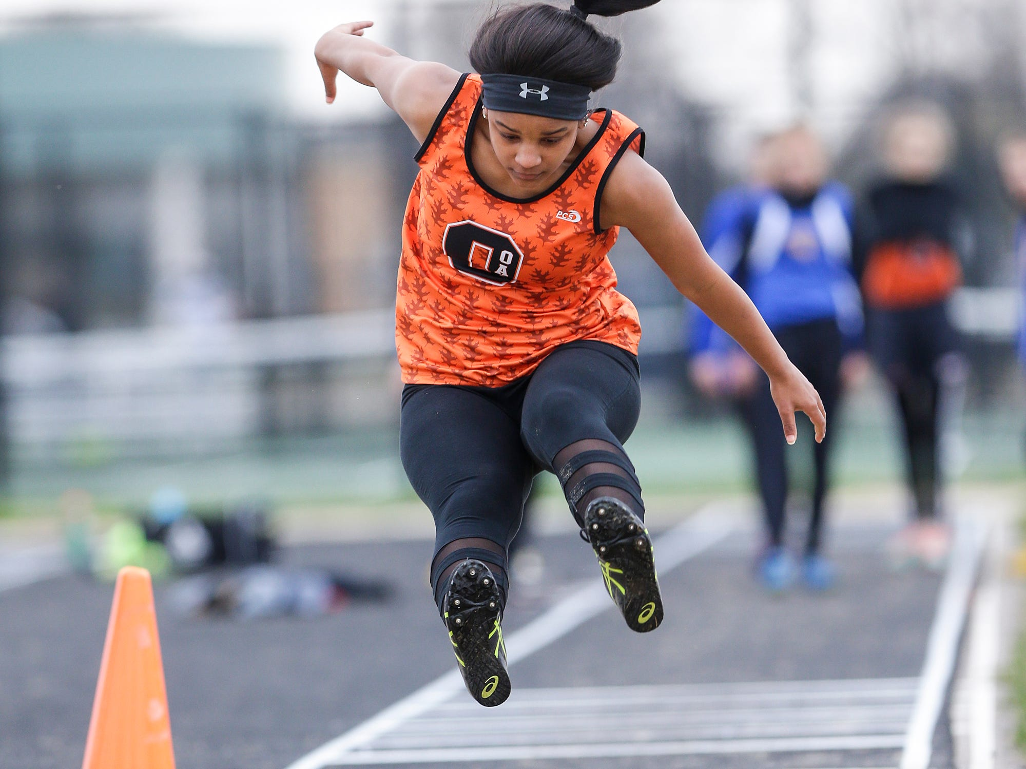 Kaliya Mielke of Oakfield High School competes in the long jump Friday, May 3, 2019 at the Waupun High School Invitational track and field meet. Doug Raflik/USA TODAY NETWORK-Wisconsin