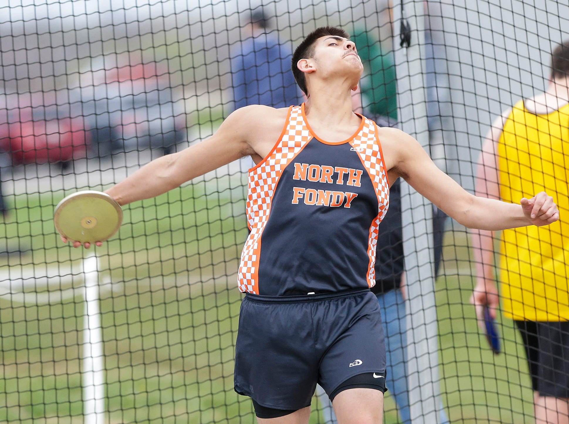 Alan Ayala of North Fond du Lac High School competes in the discus throw Friday, May 3, 2019 at the Waupun High School Invitational track and field meet. Doug Raflik/USA TODAY NETWORK-Wisconsin