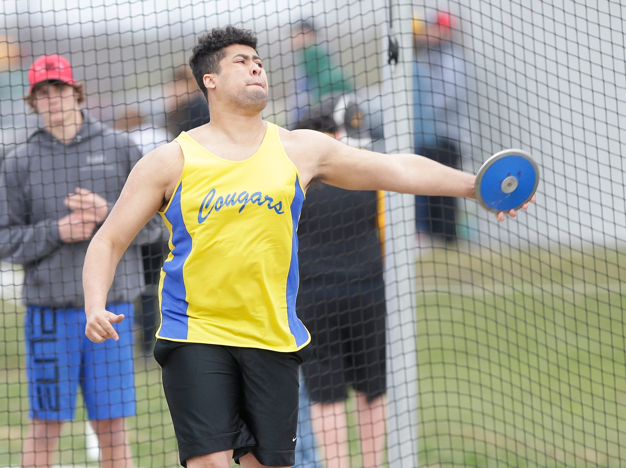 Elijah O'Laughlin of Campbellsport High School competes in the discus throw Friday, May 3, 2019 at the Waupun High School Invitational track and field meet. Doug Raflik/USA TODAY NETWORK-Wisconsin