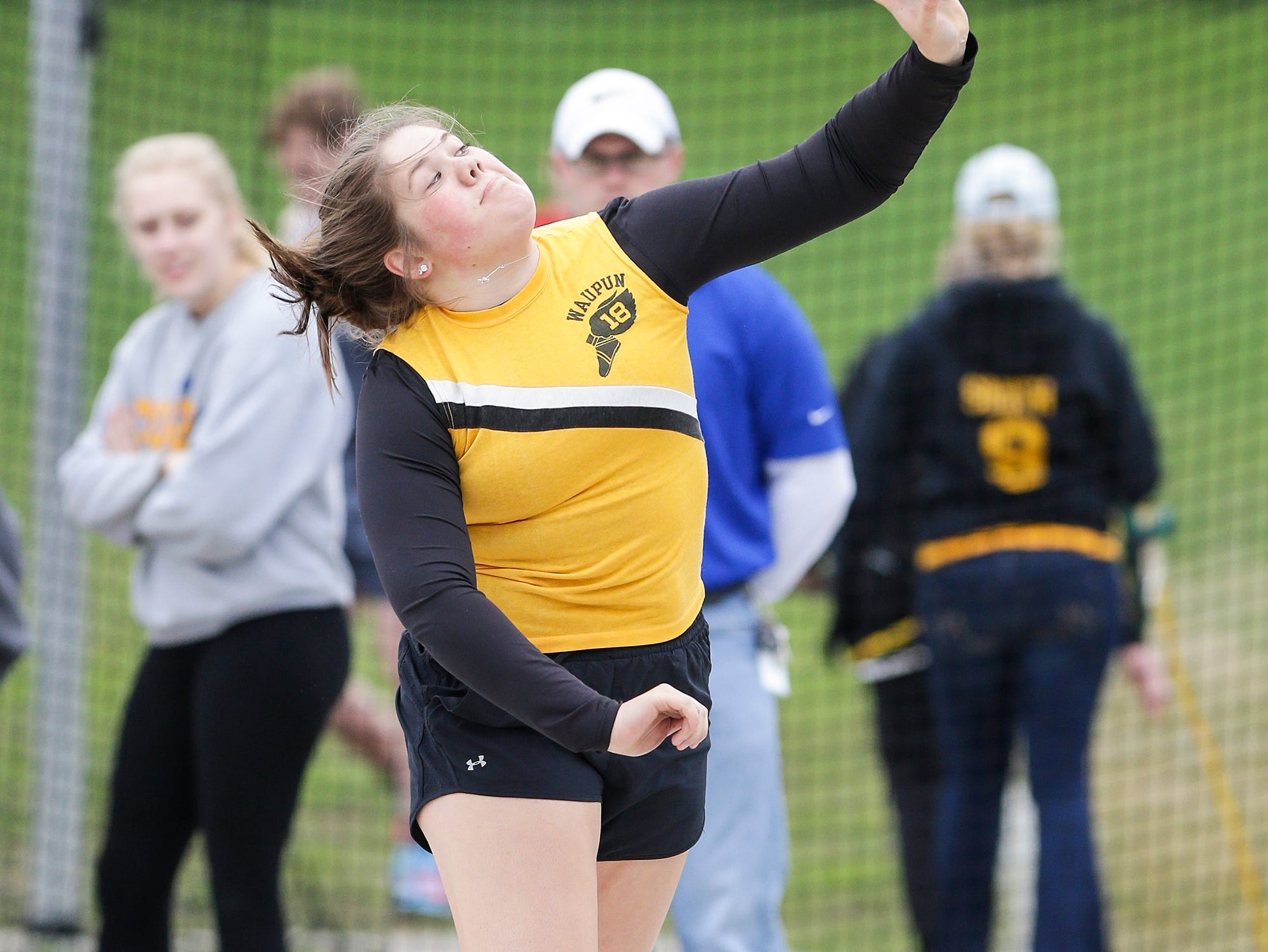Kelli Bonack of Waupun High School competes in the shot put Friday, May 3, 2019 at the Waupun High School Invitational track and field meet. Doug Raflik/USA TODAY NETWORK-Wisconsin