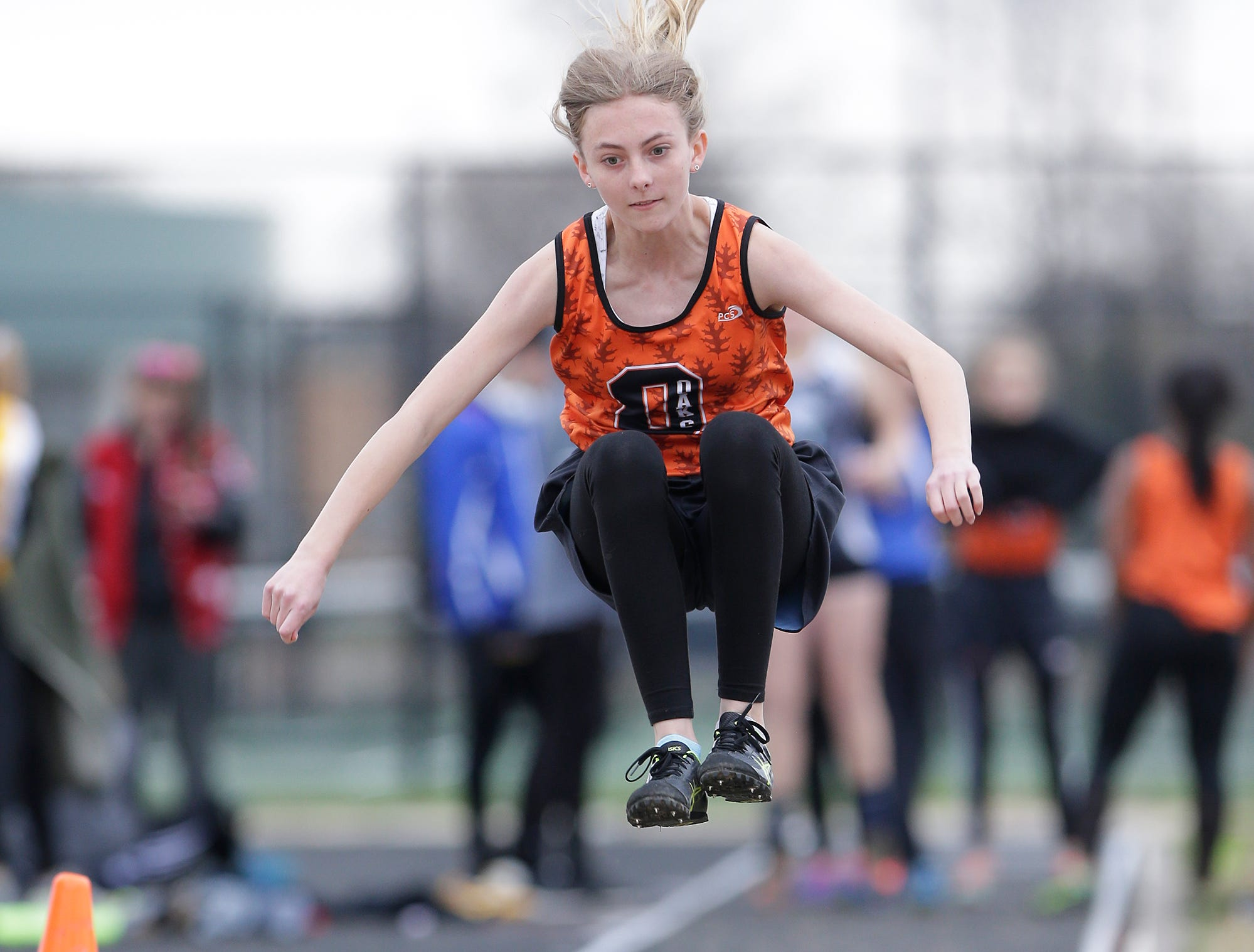 Mallory Schafer of Oakfield High School competes in the long jump Friday, May 3, 2019 at the Waupun High School Invitational track and field meet. Doug Raflik/USA TODAY NETWORK-Wisconsin