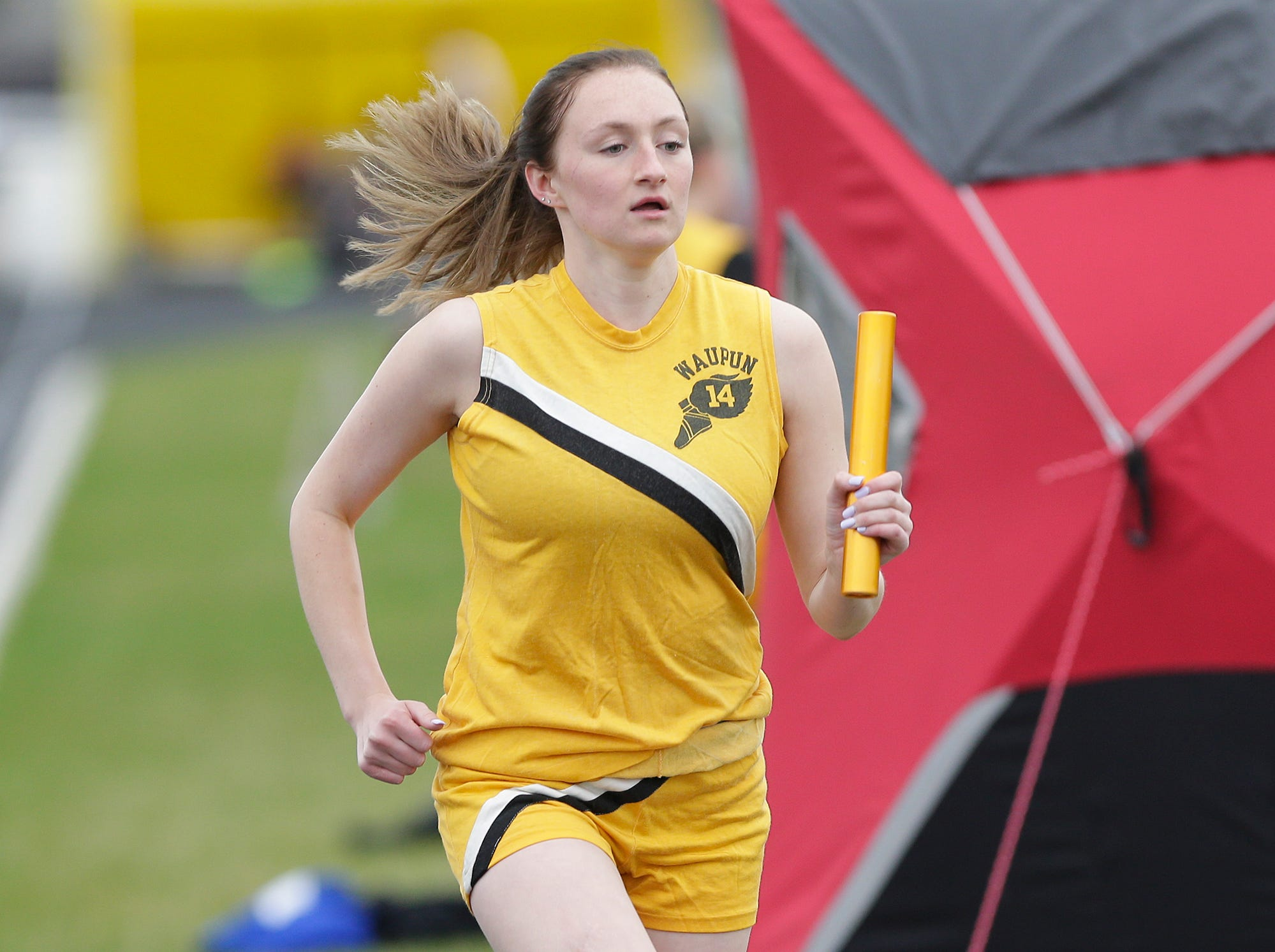 Sara Miller of Waupun High School competes in the 4x800 meter relay Friday, May 3, 2019 at the Waupun High School Invitational track and field meet. Doug Raflik/USA TODAY NETWORK-Wisconsin