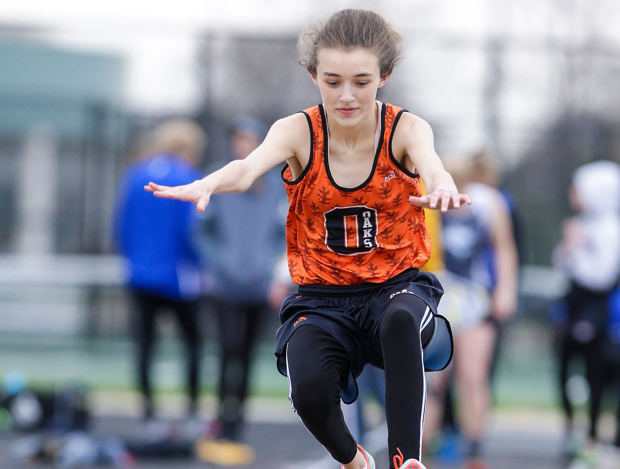 Emalie Seager of Oakfield High School competes in the long jump Friday, May 3, 2019 at the Waupun High School Invitational track and field meet. Doug Raflik/USA TODAY NETWORK-Wisconsin