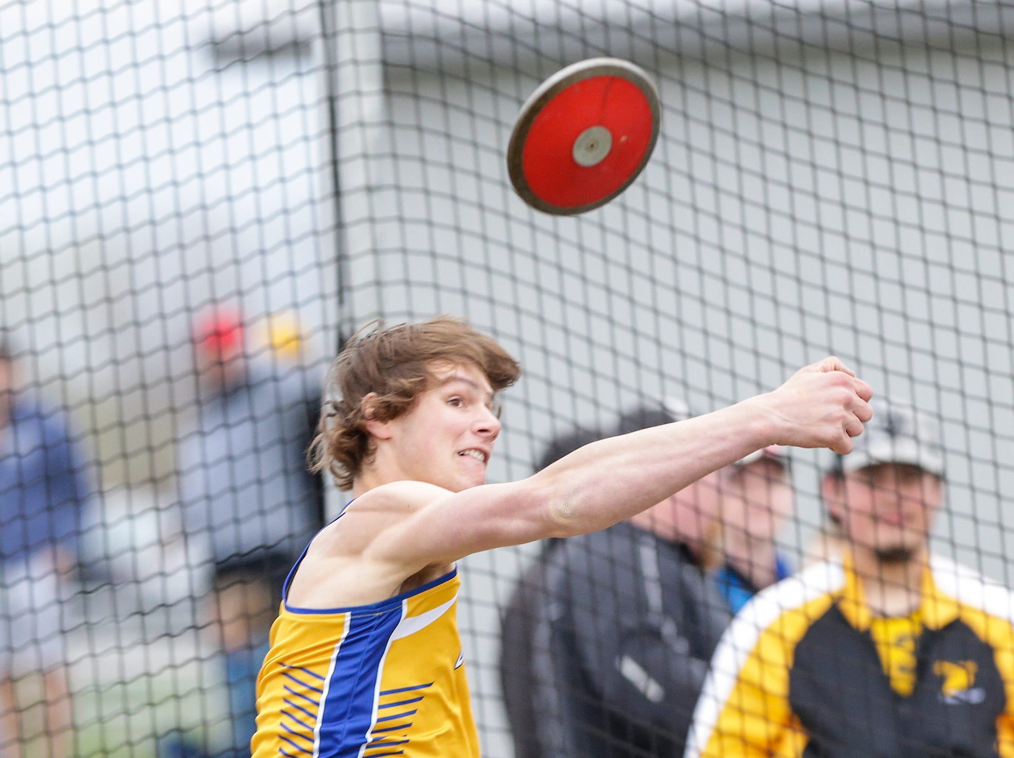 Dylan Homuth of Campbellsport High School competes in the discus throw Friday, May 3, 2019 at the Waupun High School Invitational track and field meet. Doug Raflik/USA TODAY NETWORK-Wisconsin
