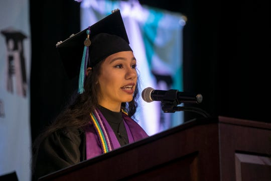 Lindsay Guzman speaks to her fellow students at Florida Southwestern State College graduation on Friday, May 3, 2019, in Fort Myers.