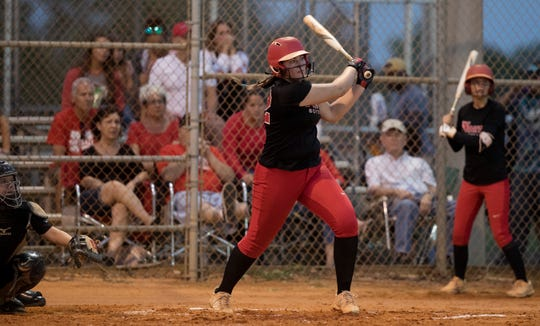 North Fort Myers High School's Sydney Morris bats against Mariner on Thursday during the District 6A-12 softball championship at Mariner in Cape Coral. North beat Mariner 6-4.