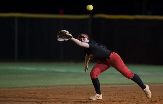 North Fort Myers High School's Kirsten Gnagey defends against Mariner on Thursday during the District 6A-12 softball championship at Mariner in Cape Coral. North beat Mariner 6-4.