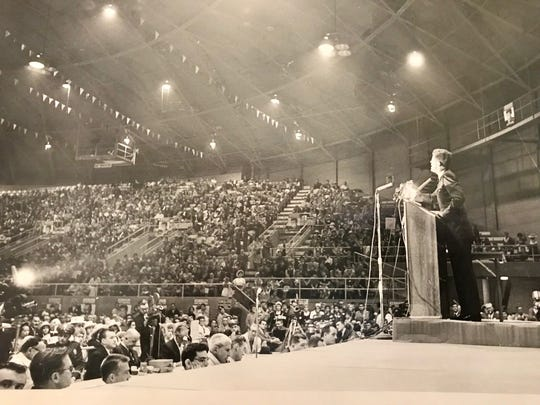 Presidential candidate John F. Kennedy speaks at the arena in October 1960.