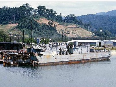 The remains of the USS Frank E. Evans before it was sunk.
