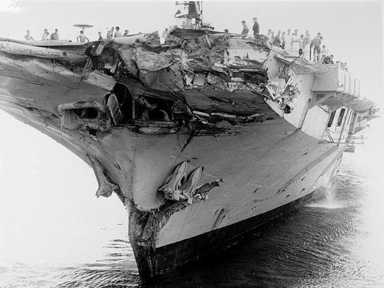 The Australian aircraft carrier Melbourne after its collision with the USS Frank E. Evans during training in 1969.