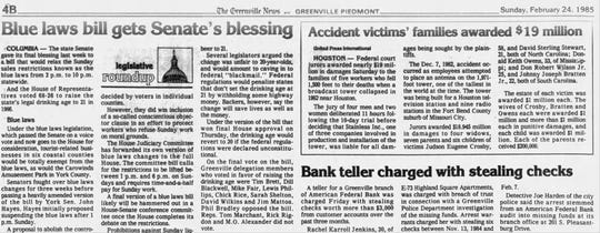 The Greenville News edition of Feb. 24, 1985.