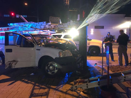A police chase ended after the suspect crashed outside of a fire station on Augusta Street on Thursday, May 2, 2019.