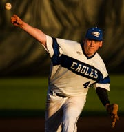 Eastside's Brody Fowler (44) throws the ball during their playoffs game against Blue Ridge Thursday, May 2, 2019.