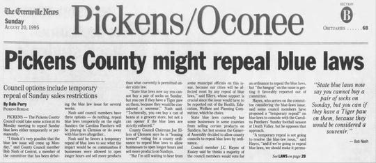 The Greenville News edition of Aug. 20, 1995