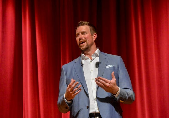 """Ryan Leaf, former NFL quarterback and C.M. Russell HIgh grad, delivers his talk titled """"Lying to Myself"""" on Thursday evening in the CMR Auditorium."""