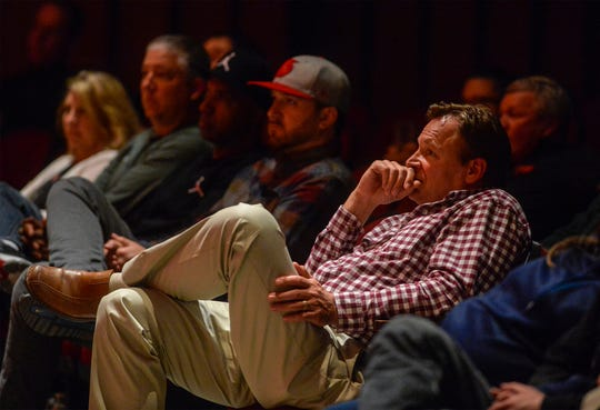 """Members of the audience listen to former NFL quarterback and C.M. Russell HIgh grad Ryan Leaf deliver a talk entitled """"Lying to Myself"""" on Thursday in the CMR Auditorium."""