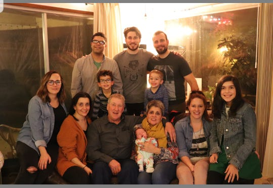 The family of Larry and Mary Peabody includes, from left, Erin, Brandley, Nathan, Crystal, Tiffani, Roan, Larry, Rye, Mary, Charcie, and Quinlyn.
