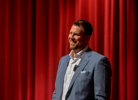 """Ryan Leaf, former NFL quarterback and C.M. Russell HIgh grad, delivers his talk entitled """"Lying to Myself"""", Thursday evening in the CMR Auditorium."""