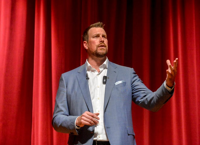 Ryan Leaf, former NFL quarterback and C.M. Russell HIgh School grad, delivers a talk at CMR. California officials have elected to pursue battery charges stemming from a May 22 incident.