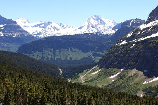 In this June 2016 photo, the Going-to-the-Sun Road is visible from the top of Piegan Pass in Glacier National Park.