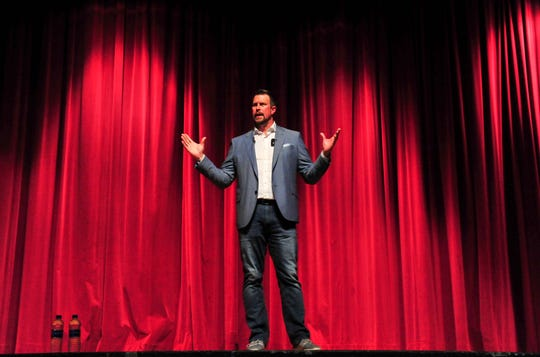 """Ryan Leaf, former NFL quarterback and C.M. Russell High grad, delivers his talk entitled """"Lying to Myself"""", in May in the CMR Auditorium."""