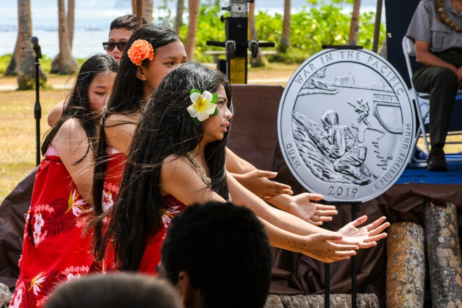 Cultural dancers from Talofofo Elementary School perform during the launch for latest America the Beautiful Quarters Program, a coin featuring a War in the Pacific National Historical Park design in this May 3 file photo.