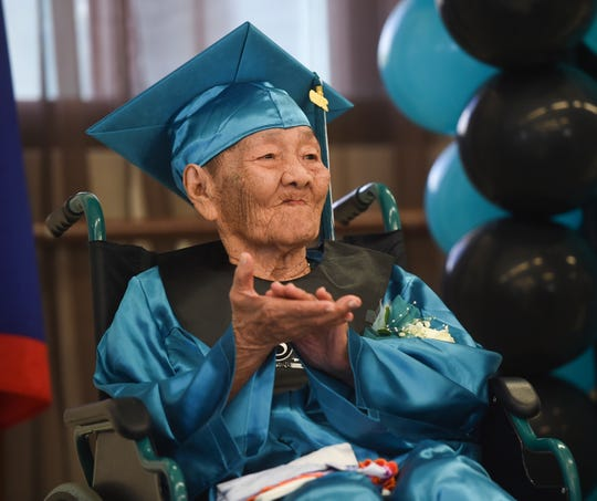 Honorary Southern High School graduate, Floren M. Paulino, 94, during a ceremony at the Inarajan Senior Citizen's Center on May 3, 2019.