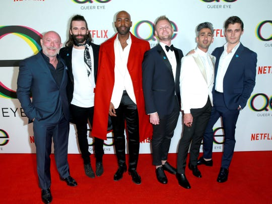 "Executive producer David Collins, left, poses with ""Queer Eye"" cast members Jonathan Van Ness, Karamo Brown, Bobby Berk, Tan France and Antoni Porowski."