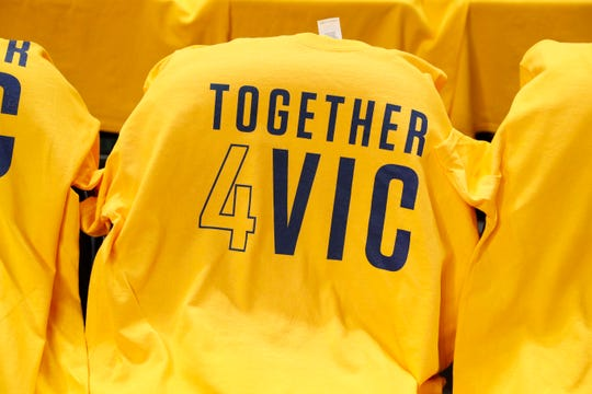Pacers gave away free t-shirts in support of injured guard Victor Oladipo before the game against the Golden State Warriors at Bankers Life Fieldhouse, Jan. 28, 2019.