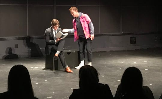 Notre Dame lacrosse players Nick Stinn and Hugh Crance (l-r) share the stage in 'The Zoo Story' for acting class final exam