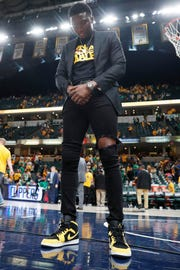 Indiana Pacers guard Victor Oladipo reacts on the court after game four against the Boston Celtics during the first round of the 2019 NBA Playoffs at Bankers Life Fieldhouse.