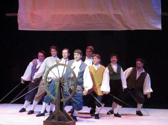 "The cast of ""The Scarlet Pimpernel"" perform ""Into the Fire."""
